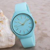 Turkuaz Silikon Kordonlu Renkli Kadın Kol Saati