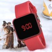 Kırmızı Kare Dijital Led Ekran Kırmızı Silikon Kordonlu Yetişkin Kız Kadın Saat