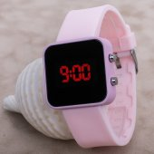 Pinkoli Seri Pembe Renk Silikon Kordon Led Yetişkin Kız Kadın Kol Saati ST-303743