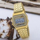 Gold Renk Çelik Kordonlu Dijital Retro Bayan Kol Saati ST-303615