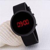 Dijital Led Tasarım Siyah Renkli Silikon Kordonlu Unisex Kol Saati ST-303518