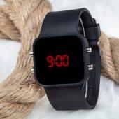Dijital Mat Siyah Kasa Led Kol Saat Silikon Bileklik Yeni Model ST-303179