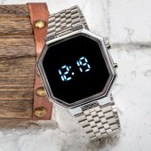 SPECTURM! Silver Gümüş Renk Dijital Led Watch Çelik Kordonlu Detay Kasa Kol Saati ST-303425
