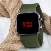 Spectrum Led - Dijital Bileklik Kol Saati Haki Yeşil Renk Silikon Kordonlu Sportif Kol Saati ST-303127