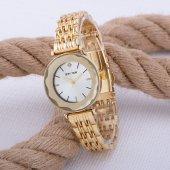 Yeni Sezon Gold Renk Çelik Kordonlu Taş Detaylı Bayan Kol Saati ST-303552
