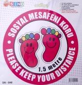 Sosyal Uyarı Sosyal Mesafeyi Koru Sticker Etiket 25 Cm