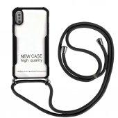 iPhone X/XS Yeni Model Zırh Özellikli Siyah Boyun Askılı Kılıf
