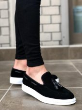 BA0005 Bağcıksız Yüksek Taban Siyah Beyaz Klasik Süet Püsküllü Corcik Erkek Ayakkabı