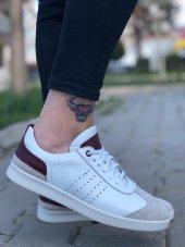 BA0035 İçi Dışı Hakiki Deri Rahat Taban Beyaz Bordo Sneakers Casual Erkek Ayakkabı