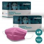 Medizer Full Ultrasonik Cerrahi Ağız Maskesi 3 Katlı Spunbond Kumaş 100 Adet - Burun Telli - Pembe