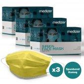 Medizer Full Ultrasonik Cerrahi Ağız Maskesi 3 Katlı Spunbond Kumaş 150 Adet - Burun Telli - Sarı