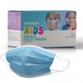 Medizer Full Ultrasonik Cerrahi ÇOCUK Maskesi 3 Katlı Spunbond Kumaş 50 Adet - Burun Telli - Mavi