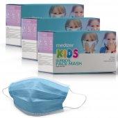 Medizer Full Ultrasonik Cerrahi ÇOCUK Maskesi 3 Katlı Spunbond Kumaş 150 Adet - Burun Telli - Mavi