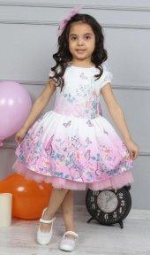 Kız Çocuk Kelebek Baskılı Dantelli Pembe Elbise