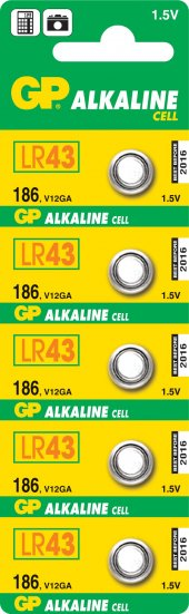 GP GP186-C5 LR43 Alkalin Düğme Pil5li Paket
