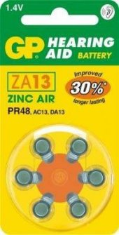 GP ZA13 1.4V Düğme Kulaklık Pili  6lı Paket