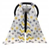 Bebekatölyesi Puset Örtüsü Gri Sarı Zigzag Yıldız