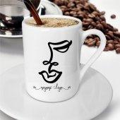 Kişiye Özel Karakalem Soyut Yüz Kahve Fincanı -6