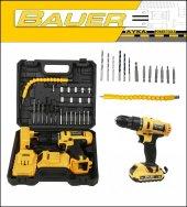 Bauer Power Tools 36 Volt 5,0 Amper Darbeli Metal Şanzuman +27 Parça Set Şarjlı Vidalama Matkap