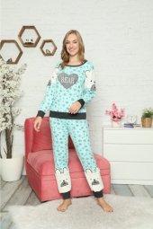 Rapapa Kadın Kışlık Pijama Takımı Mavi 6293-