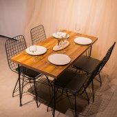Nunemo 4 Adet Tel Sandalye + 120*60 Yemek Masası Takımı