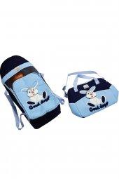 Tavşan Desenli 2li Bebek Taşıma Seti - Mavi