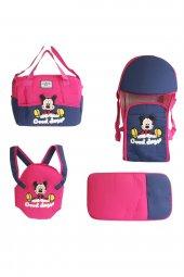 Mickey Mouse Desenli 4 lü Bebek Taşıma Seti - Fuşya