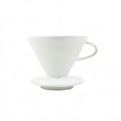 Porselen Kahve Demleme Aparatı Dripper V60 Beyaz + 50 g FİLTRE KAHVE HEDİYELİ!