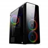 POWERBOOST VK-G3904S USB3.0 Full Siyah Arcylic Halo Rainbow RGB Fan kasa (PSU Yok) (JBST-VKG3904S)