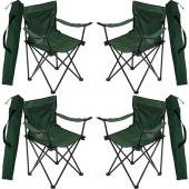 4 Adet Çantalı Kamp Sandalyesi Balıkçı Plaj Piknik Koltuğu Yeşil