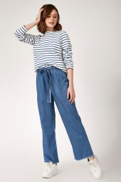 Kadın Bol Paça Mavi Pantolon 6469