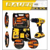 Bauer 32 Volt 5 Amper Çift Akülü 50 Parça Komple Set Şarjlı Vidalama Matkap