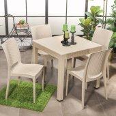 4 Sandalyeli Rattan Bahçe Masa Takımı Açık Kahve