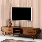 Oval Tv Sehpası Ahşap 2 Çekmeceli Kaliteli ürün