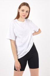 Twenty3 Kadın Sıfır Yaka Basic Düz Oversize T-Shirt