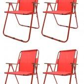 Walke Katlanabilir Kamp Sandalyesi Piknik Sandalyesi Plaj Sandalyesi 4 Adet Ahşap Kollu Kırmızı
