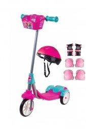 Linda 3 Tekerlekli Frenli Kız Çocuk Scooter Pembe Kask Dizlik Seti Dahil