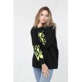 Mestia Kadın Yeşil Kolları Baskılı Sweatshirt