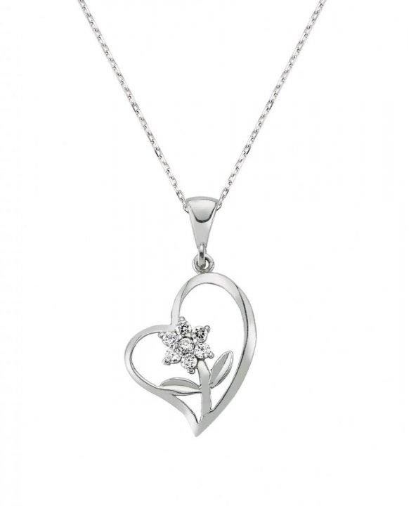 Kalbimin Çiçeği Gümüş Kolye