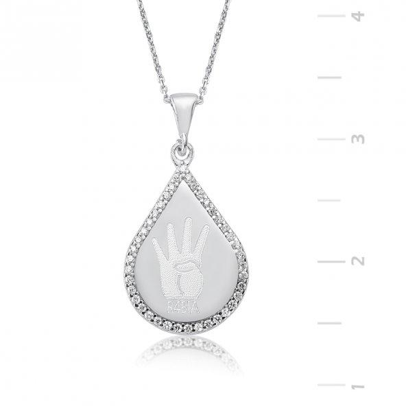 Zirkon Taşlı R4BİA Simgesi Damla Gümüş Kolye