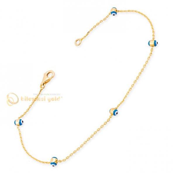 Tiffany Göz Boncuklu 14 Ayar Altın Bileklik