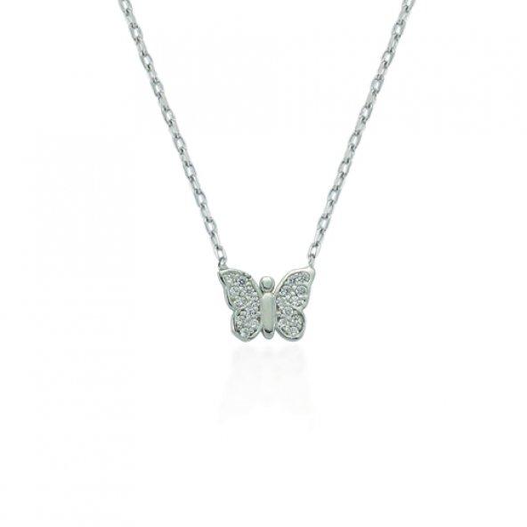 Glorria Gümüş Kelebek Kolye