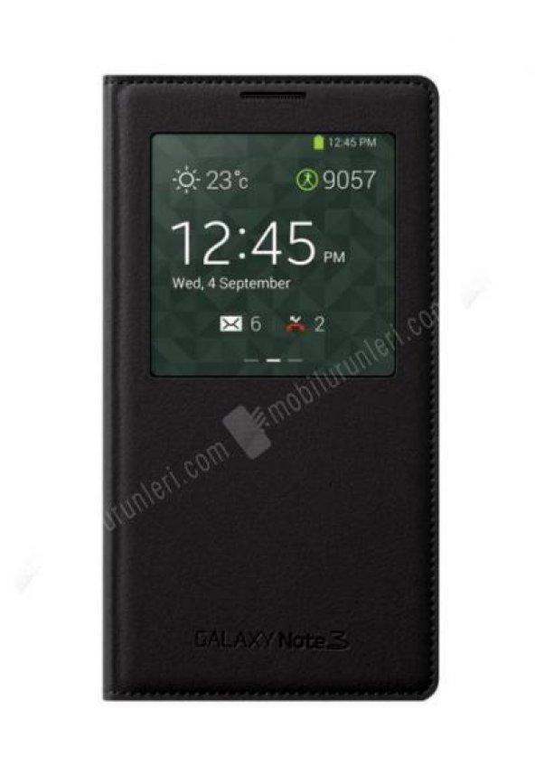 Samsung Note 3 SView(Akıllı Kapak) Flip Cover Kılıf Siyah
