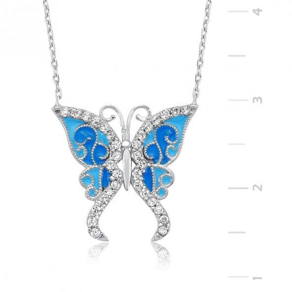 Zirkon Taşlı Gümüş Mavi Kelebek Kolye