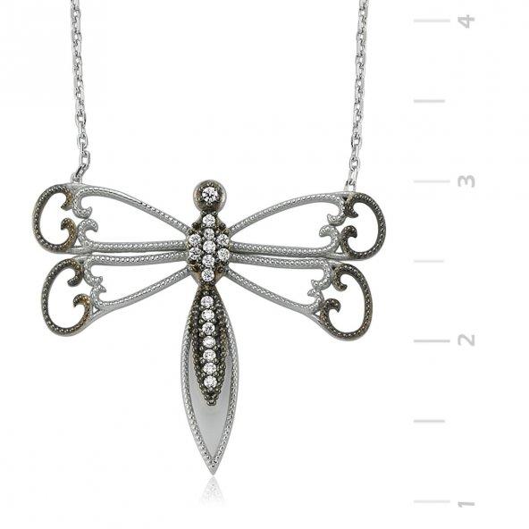 Telkari Kelebek Gümüş Kolye