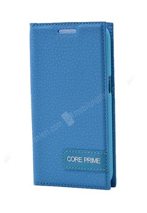 Galaxy Core Prime Gizli Mıknatıslı Deri Mavi Renk Kılıf