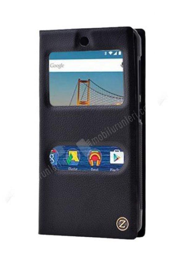GM Android One 4G Çift Pencereli Deri Siyah Kılıf