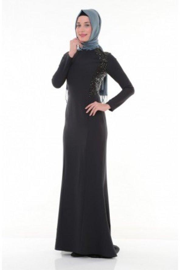 770a6203f2f28 Nidya Moda Tesettür Pullu Payet Kombinli Lacivert Balık Abiye Elbise-4048PL