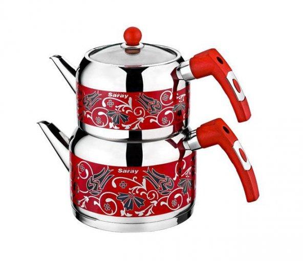 Evimsaray Gözde Kırmızı Dekorlu Çaydanlık (KÜÇÜK BOY)