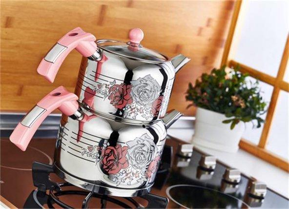 Evimsaray Rose Pembe Dekorlu Çaydanlık (KÜÇÜK BOY)